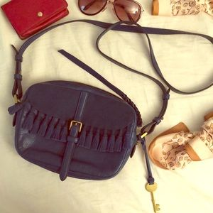 Fossil blue leather crossbody bag with tassels